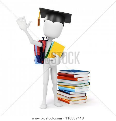 3d man holding some books, education concept