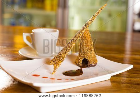 Chocolate And Sesame Seed Wafer Dessert