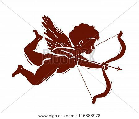 vector silhouette of a cupid shooting arrow