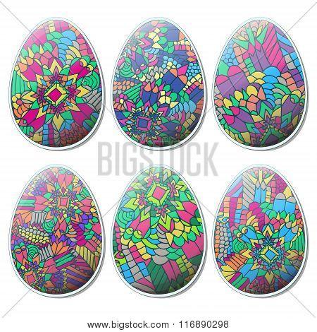 Easter Zentangle Eggs Set Tribal Abstract 2