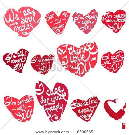 beautiful set of hearts with the different declarations of love