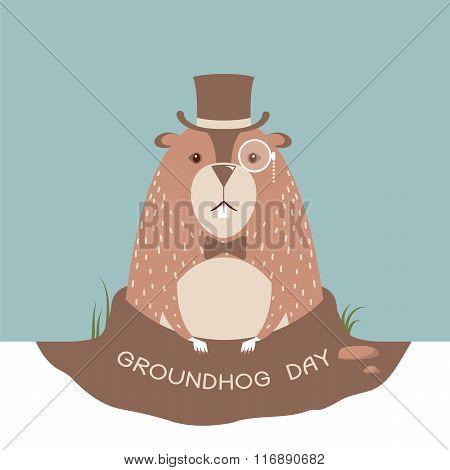 Happy Groundhog Card Background