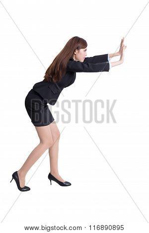 Serious Business Woman Push Something