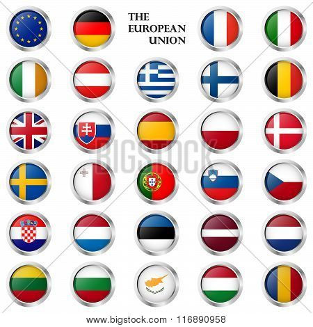 Eu Button Collection With Country Flags