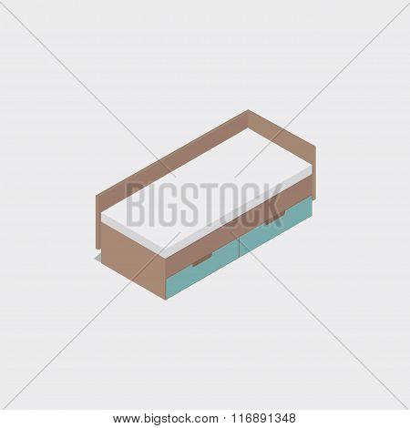 Bed. Isometric icon in 3D.