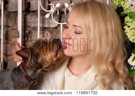 Dog Kissing And Licking Young Woman