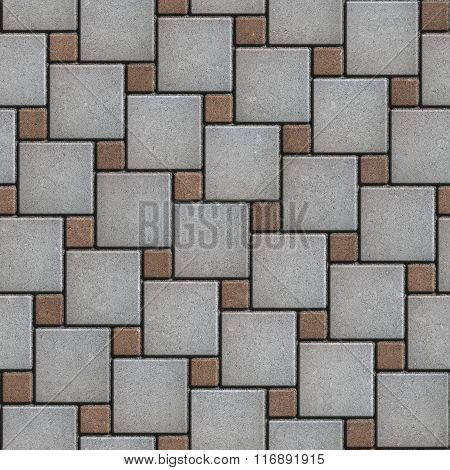 Gray and Brown Squares of Pavement. Seamless Texture.