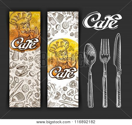 vector hand drawn cafe sketch and restaurant doodle