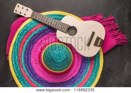 Mexican Background With Sombrero, Guitar And Blankets