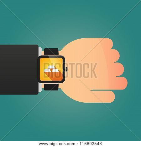 Man Showing A Smart Watch With Three Gold Bullions