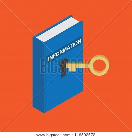 Isometric a locked book. Closed information. The key information.
