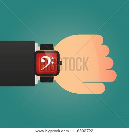 Man Showing A Smart Watch With An F Clef