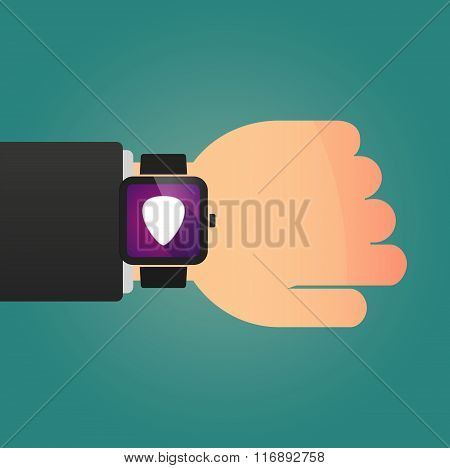 Man Showing A Smart Watch With A Plectrum