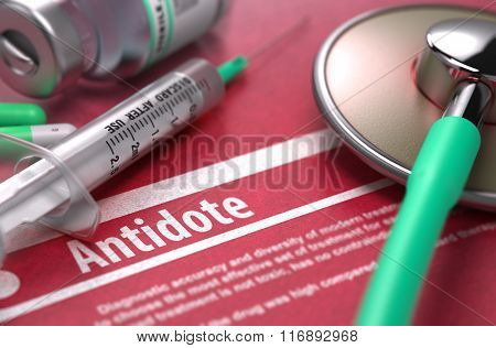 Antidote. Medical Concept on Red Background.