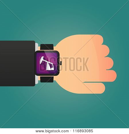 Man Showing A Smart Watch With A Horsehead Pump