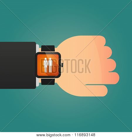 Man Showing A Smart Watch With A Heterosexual Couple Pictogram
