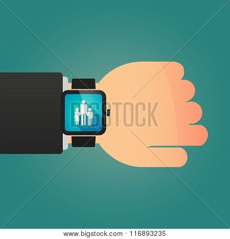 Man Showing A Smart Watch With A Male Single Parent Family Pictogram