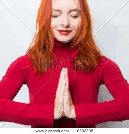 Editable vector illustration of caucasian woman greeting