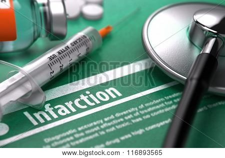 Infarction. Medical Concept on Green Background.