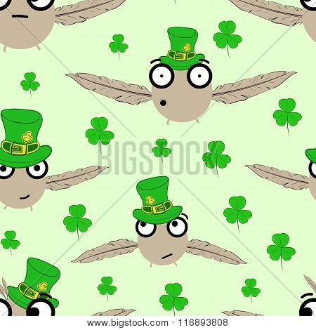 Seamless birds St. Patrick's Day