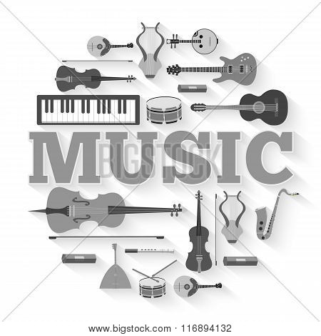 Music instruments circle infographics template concept. Icons design for your product or design, web
