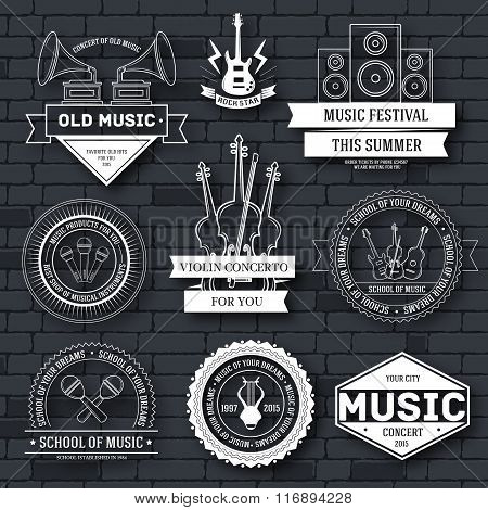 Music set label template of emblem element for your product or design, web and mobile applications w