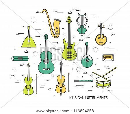 Thin line set of musical instruments modern illustration concept. Infographic way from melody to con