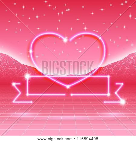 80s styled retro futuristic card with neon heart in computer wor