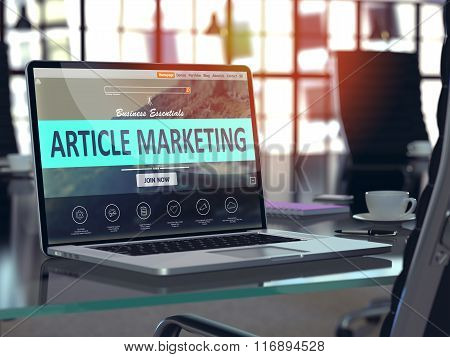Article Marketing Concept on Laptop Screen.
