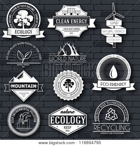 Ecology set label template of emblem element for your product or design, web and mobile applications