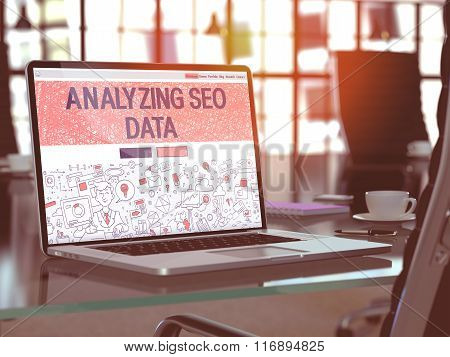 Laptop Screen with Analyzing SEO Data Concept.