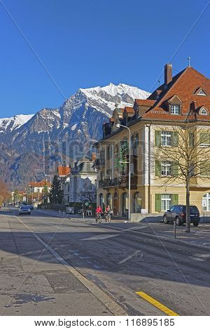 Street view of the Alps in the Town of Bad Ragaz. Bad Ragaz is a city in canton St. Gallen in Switzerland. It lies over Graubunden Alps. Spa and recreation village is at end of Tamina valley