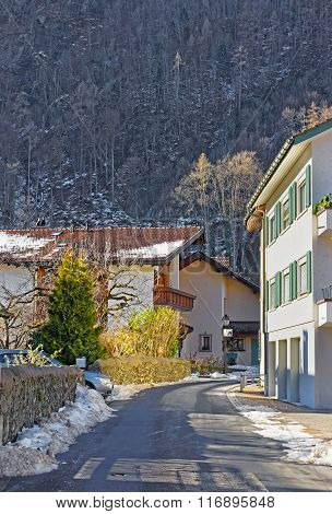 Houses in the City of Bad Ragaz. Bad Ragaz is a city in canton St. Gallen in Switzerland. It lies over Graubunden Alps. Spa and recreation village is at end of Tamina valley