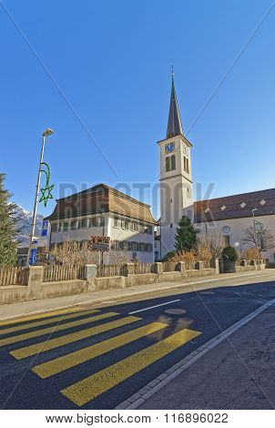Catholic Church in the Town of Bad Ragaz. Bad Ragaz is a city in canton St. Gallen in Switzerland. It lies over Graubunden Alps. Spa and recreation village is at end of Tamina valley