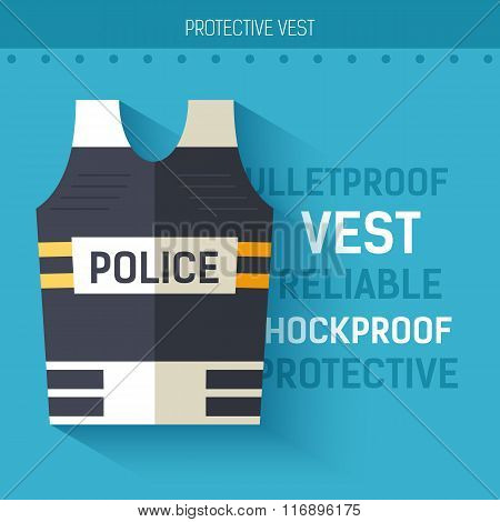 Bulletproof vest protective.  Vector icon illustration background. Colorful template for you design,