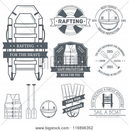 rafting set label template of emblem element for your product or design, web and mobile applications