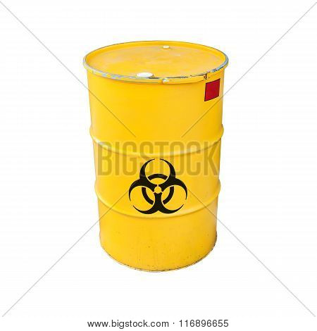 Yellow Biohazard Metal Barrel Isolated On White