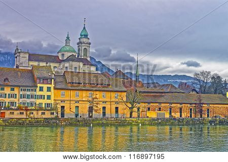 Waterfront Of Saint Ursus Cathedral In Solothurn