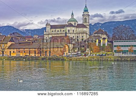 Waterfront Of St Ursus Cathedral In Solothurn