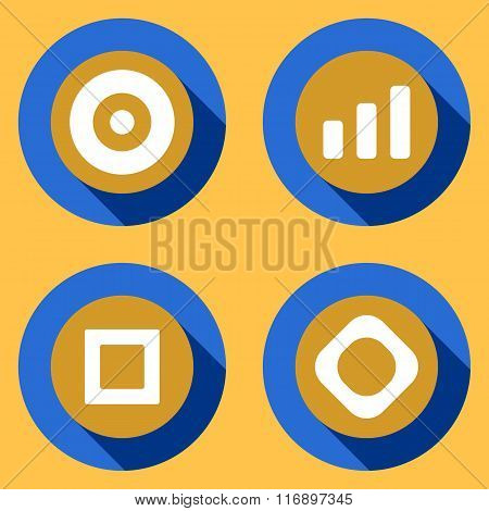 Modern flat icons vector collection with long shadow effect in stylish colors of web design objects,