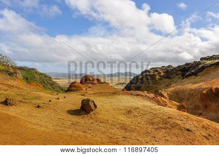 In The Crater Of Rano Raraku Volcano, Easter Island, Chile
