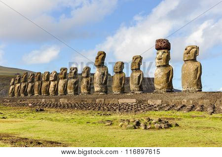 The 15 Moai Statues In Ahu Tongariki, Easter Island, Chile