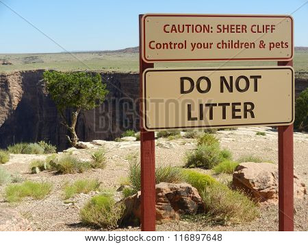 Caution Sheer Cliff Warning Sign