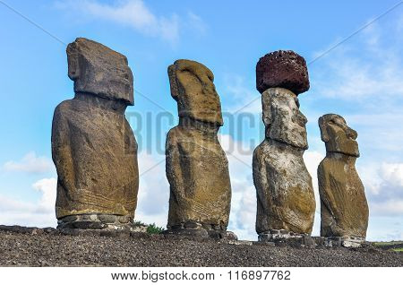 Moai Statues In Ahu Tongariki, Easter Island, Chile