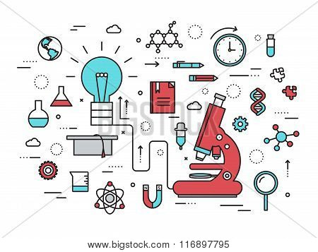 Thin line scientific idea modern illustration concept. Infographic way from thinking the idea to the