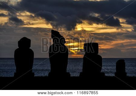 Sunset In Ahu Tahai, Easter Island, Chile