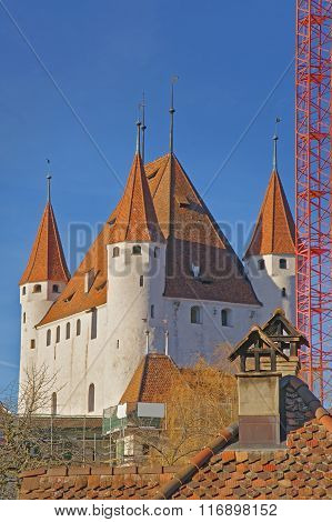 View On Thun Castle And Tile Roofing In Switzerland