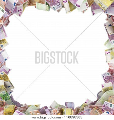 Euro Banknotes Background With Space For Text Isolated On White Background