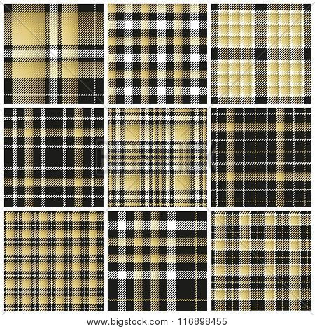 Set of plaid seamless patterns. Bright colors. Vector illustration