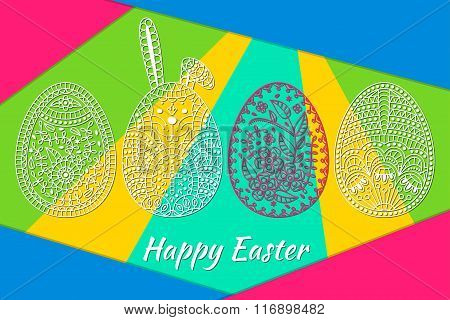 Easter pattern with eggs and white easter rabbit. Modern material background at the back. Vector ill